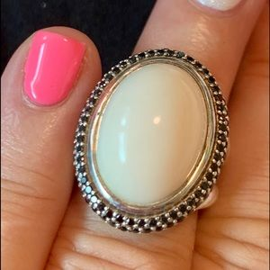 DAVID YURMAN Cable Oval Ring White Agate Ring s5